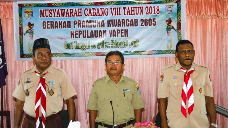 Pelaksanaan MUSCAB Gerakan Pramuka KWARCAB 2605 Kep Yapen Ke 8 Tahun 2018